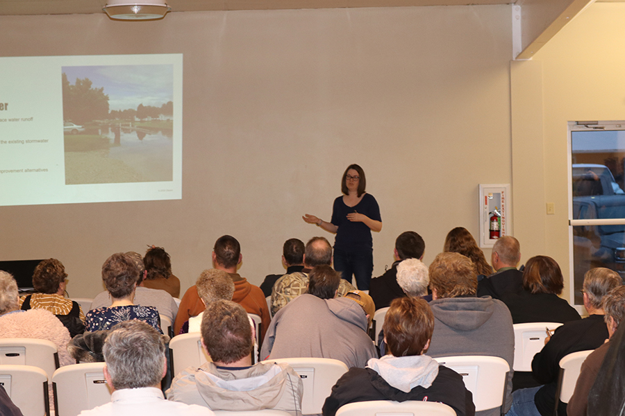 Carrie Romero of Olsson provides a power point presentation on the development of a flood plan for Sargent.